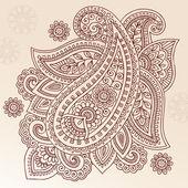 Henna Paisley Flower Doodle Vector Design Element — Stock Vector