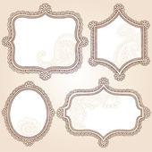 Vintage Frames Henna Paisley Flower Doodle Vector Border — Stock Vector