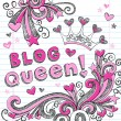 Blog Queen Sketchy Doodle Vector Illustration Design Elements — Stock Vector