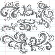 Sketchy Doodle Swirls Vector Design Elements — Stock Vector