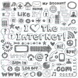 Web Computer Icons Design Elements Sketchy Doodles Vector Set - Stock Vector
