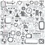 Web Computer Icons Design Elements Sketchy Doodles Vector Set — Stock Vector