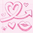 Valentine&amp;#039;s Day Sketchy Doodle Love Heart and Lips - Stock Vector