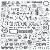 Design de ícones do computador web doodles esboçado de elementos vetoriais conjunto — Vetorial Stock