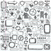 Web Computer Icons Design Elements Sketchy Doodles Vector Set — Stock Vector
