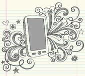 Teléfono celular portátil incompletos doodles ilustración vectorial — Vector de stock