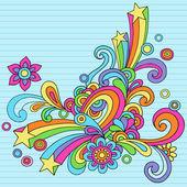 Doodles groovy psychédéliques vector dessins — Vecteur