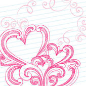 Heart Shaped Sketchy Doodle Swirls Valentine's Day Vector Design — Stok Vektör