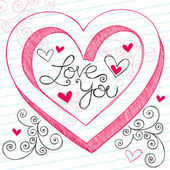 I Love You 3D Heart Sketchy Doodles Vector Design Elements — 图库矢量图片