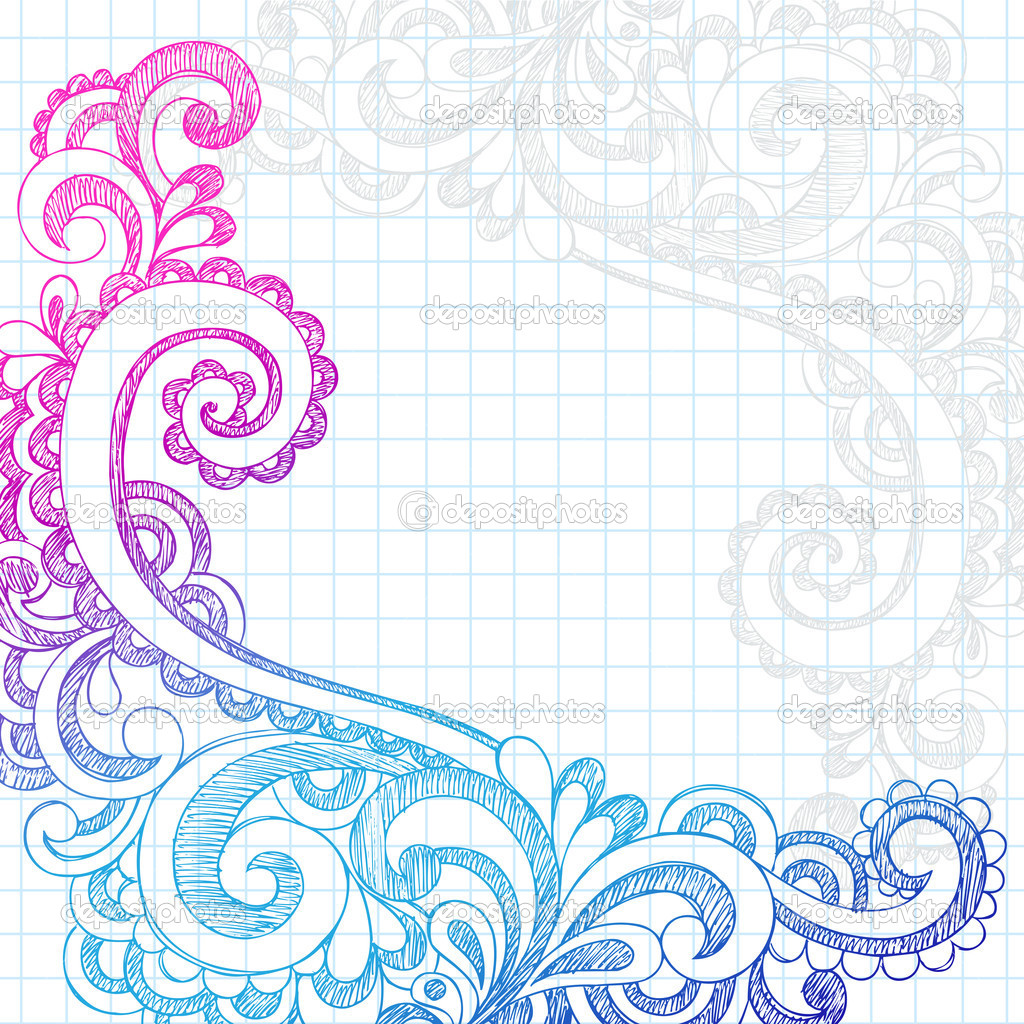 Paisley Sketchy Doodle Page Border Vector Illustration