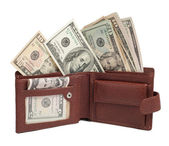 Dollars in brown wallet isolated on white — Stock Photo