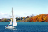 Canadian sailboat in the autumn — Stock Photo