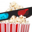 Closeup 3D glasses with popcorn — Stock Photo #8530217