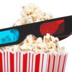 Closeup 3D glasses with popcorn — Stock Photo