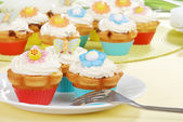 Easter cupcakes with a fork — Stock Photo
