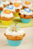 Closeup of butterfly cupcake — Stock Photo