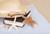 Relaxing beach concept book hat glasses — Stock Photo