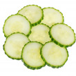 Stock Photo: Isolated cucumber slices