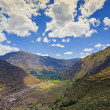 Stock Photo: Village of Pisac and UrubambRiver
