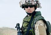 Soldier in desert uniform — Stock Photo