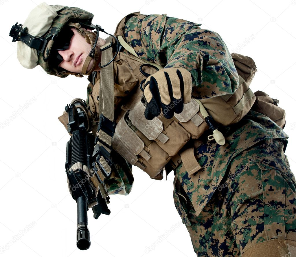 US soldier with rifle — Stock Photo #9739849