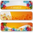 Banners for 8 march — Stock Vector