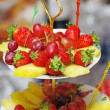 Fruits on three tier vase — Stockfoto