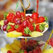 Fruits on three tier vase — Foto de Stock