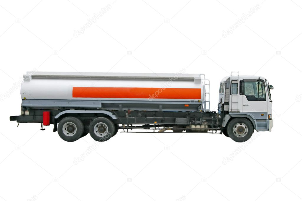 Big fuel gas tanker truck on the white background — Stock Photo #9608238