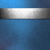 Blue background silver ribbon — Stock Photo