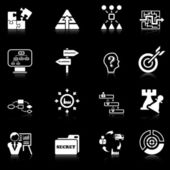 Business strategy icons - black series — Stock Vector