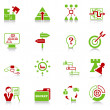 Business strategy icons - green-red series — Stock Vector #9269216