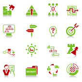 Business strategy icons - green-red series — Stock Vector