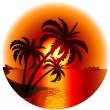 Sunset on a tropical island — Stock Vector