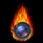 Burning the camera lens — Stock Vector