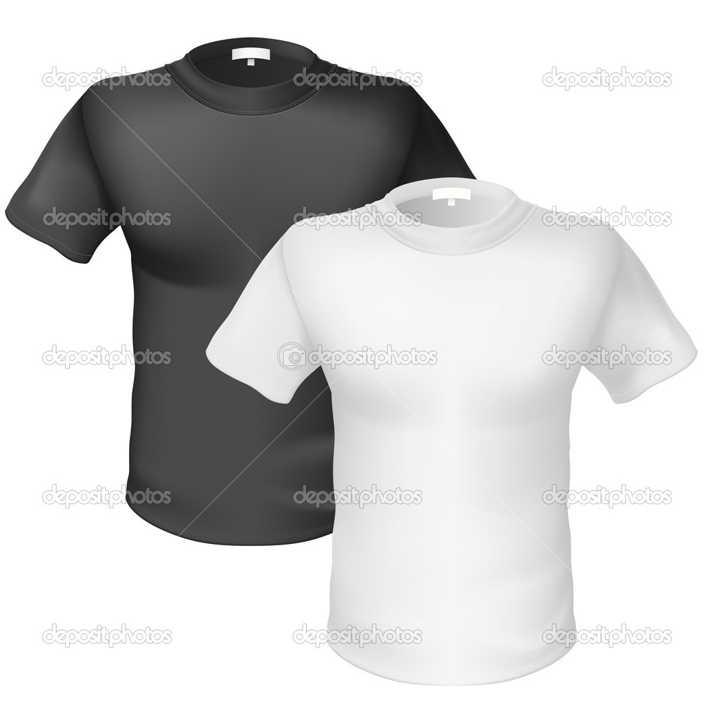 Black t shirt front view - Black And White T Shirt Front View Stock Illustration