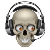 Cool Skull with headphones — Stock Vector