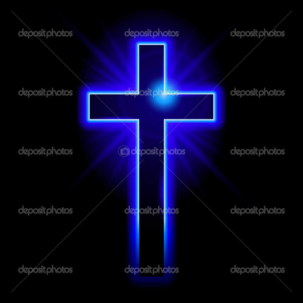 Blue Christian symbol of the crucifix. Illustration on black background — Stock Vector #10520702
