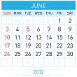 June Calendar — Stock Vector