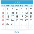 July Calendar — Stock Vector