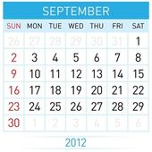 September calendar — Stock Vector