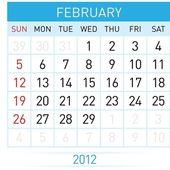 Februari kalender — Stockvector