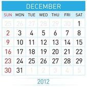 December Calendar — Stock Vector