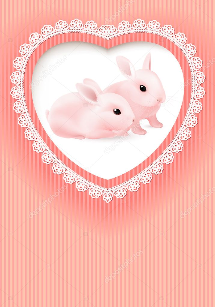 Greeting Card. Two Rabbits in a Heart on Pink background. — Stock Vector #8836369