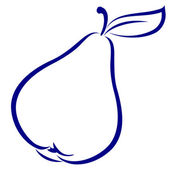 Pear. Blue and white icon. — Stock Vector
