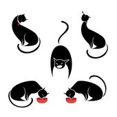 Big set of the black cats. — Stock Vector