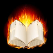 Burning book — Stock Vector