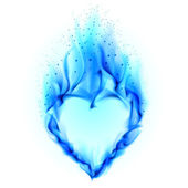 сердце в голубой огонь — Стоковое фото