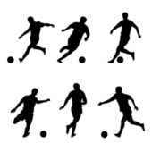Soccer, football players silhouettes — Stock Vector