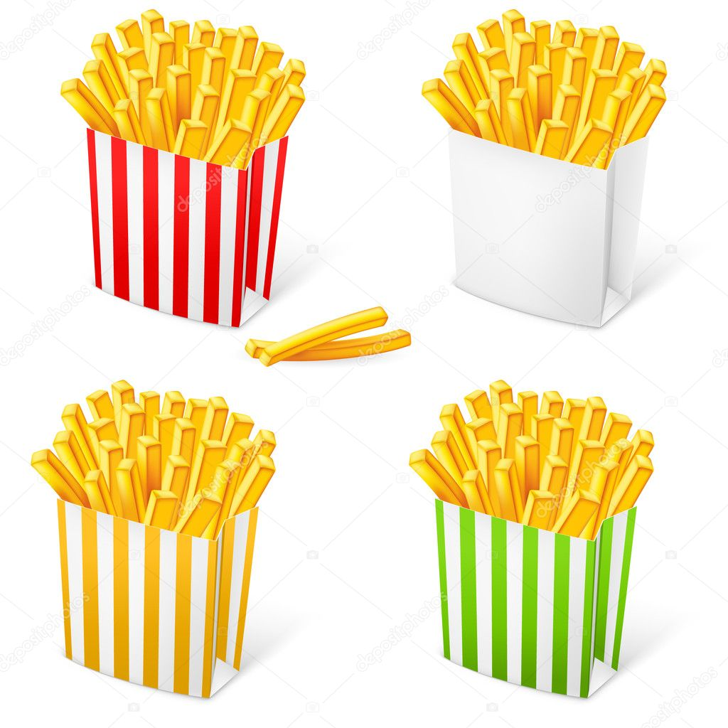 French fries in a multi-colored striped packaging. Illustration on white background — Stock Vector #9931025
